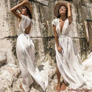 Flowy Boho Front Slit White Beach Swim Coverup